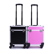 Professional Makeup Case PVC Aluminum Trolley Cosmetic Case Makeup Bag(China)
