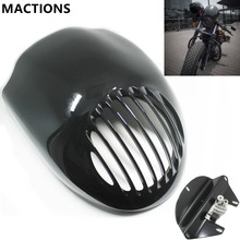 Morotcycle Parts Grill Prison Cowl Cafe Headlight Mask Front Fairing Flyscreen Fly Screen Visor For Harley Dyna Sportster XL 883