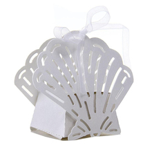 50pcs Laser Cut Sea Shells Beach Themed Wedding Birthday Party Favor Candy Gift Boxes Bomboniere Gags (White)