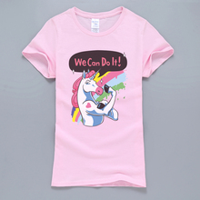 Buy Unicorn T Shirt Can Letters Printed Kawaii Top 2017 Summer Casual Women Short Sleeve Shirt Tops Brand Female T-Shirt for $4.23 in AliExpress store