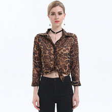 Spring Autumn Fashion Women Office Ladies Formal Chiffon Blouse Leopard Printed Long Sleeve Single Breasted Loose Tops Shirts(China)