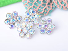 Crystal AB Rhinestone Embellishment With Loop 13mm 20pcs/lot Shank Back Silver Color