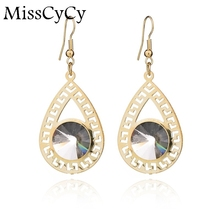 MissCyCy Gold Color Earring For Women 2016 News Hollow Water Drop Earrings Crystal Korean Fine Jewelry(China)