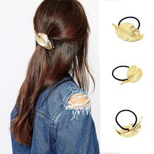 2016 fashion lady rich golden leaves women hair rope hair ornaments headdress