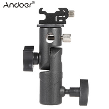 "Andoer E Type Universal Metal Flash Hot Shoe Speedlite Umbrella Holder Light Stand Bracket w/ 1/4""3/8""Screw Mount Swivel Adapter(China)"
