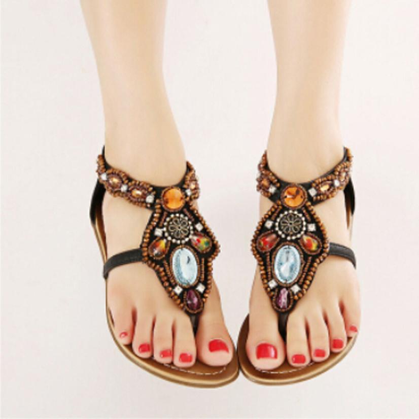 Women Sandals Bohemian Style Beaded Cover Back Zipper Flats Shoes Beading Casual Open Toe Sapato Feminino #2607<br><br>Aliexpress