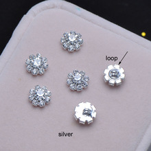 (S0019) 8mm diameter  crystal button, stuning products,silver or gold plating,with loop at back