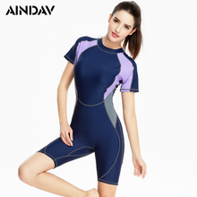 Brand New Short Sleeve Swimwear One Piece Swimsuit Knee Length Swimming Suit for Women Athlete Sport Bathing Suit Surf Rushguard(China)