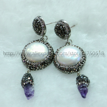 Natural big round pearl & purple crystal dangle earrings with black gun cz stud retro druzy earrings drop earring 195