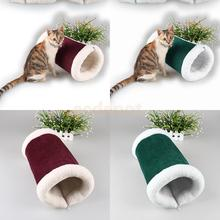 2-in-1 Tube Cat Play Tunnel Warm Plush Carpet Mat Small Animal Bed Pet Sound Squeaky Toy(China)