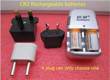 HOT NEW lithium battery CR2 3V 900MAH Rechargeable Li-ion batteries(Two battery+ a charger)