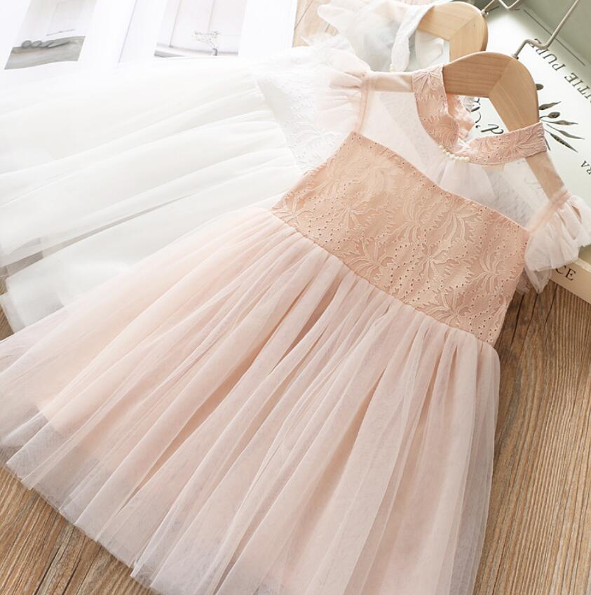 2019 Summer Baby Girls Puff Sleeve Mesh Dress, Princess Kids Sweet Beading Dresses  5 pieces/lot, Wholesale