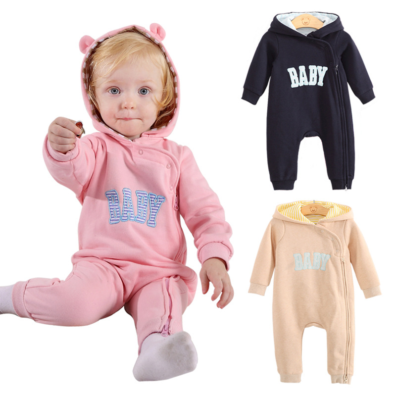 1PC Comfortable Bebe Long Sleeve Hooded Cotton Baby Spring Winter Romper Newborn Baby Boy Clothes <br><br>Aliexpress