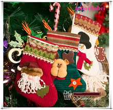 2015 new Christmas stocking Christmas ornaments decoration window decoration cell phone pocket gift 3 styles Free Shipping!