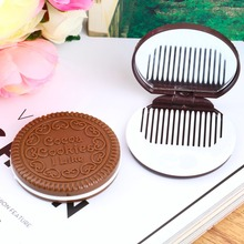 Cute Chocolate Cookie Shaped Design Makeup Mirror with Comb Lady Women Makeup Tool Pocket Mirror Home Office Use