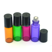 3pcs Colorful 5ml Roller Glass Bottle Fragrance Perfume Essential Oil Empty Bottle 5ml Roll-On Black Plastic Cap Bottle