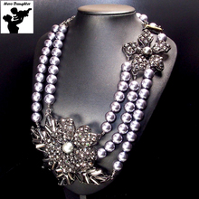 Cute Statement Vintage Baroque Black Pearl Necklace Long Chain Big Austrian Crystal Chunky Pearl Necklace for Women Unique 2017