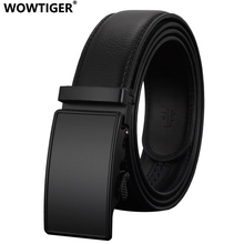 WOWTIGER Fashion Automatic Buckle Leather luxury Designer Male Belts For men Business Alloy buckle Men belt(China)