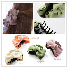 Ribbon Flower Bow Jaw Hair Clip Barrette Neon Bow Hair Claws for Women Headwear form Korean Beauty Style Hair Accessories(China)
