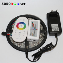 1Pack 5M RGB 5050 SMD LED Strip light 60Leds/m + 3A DC 12V Power Adapter Transformer + 2.4G RF Remote Controller(China)