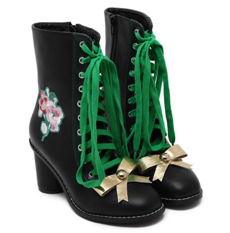 women embroidery flowers Ankle Boots Brand women boots golden bow-knot thick with high-heeled shoes woman<br><br>Aliexpress