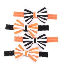 4pcs/lot Retail 4'' Cotton Bow With Lace headband Halloween Festival Mixing Color Hair Headband Hair Accessory Headwear News(China)