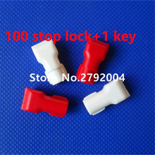 100pcs/lot EAS anti-theft stop lock for retail display security hook stem&peg stop lock+1pcs magnetic detacher keys
