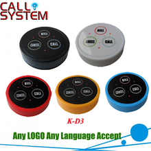 K-D3 waiter call button wireless restaurant buzzer Any LOGO any language accept 5 color(China)