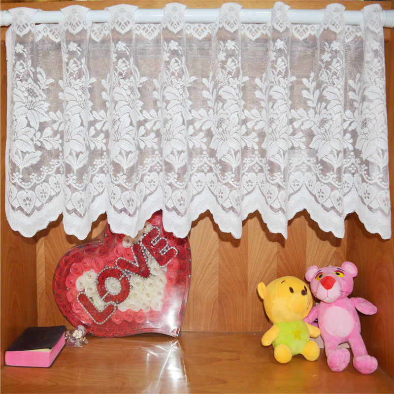 Yarn Knitting Tulle Curtains for Kitchen Curtains Euramerican Jacquard Short Warp Style Rural lace  for Window Shade Curtain