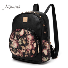 Women Backpacks 3D Printing Floral PU Leather Rivet Backpack Female Trendy Designer School Bags Teenagers Girls Travel Mochilas