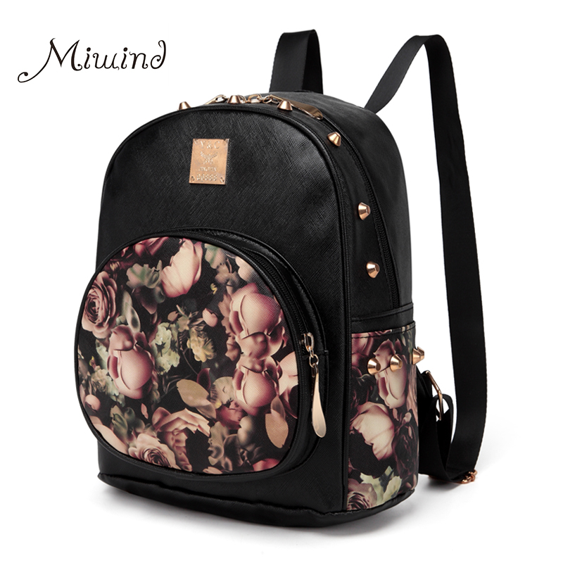 Women Backpack School Bag Rivet Teenage Backpacks For Girls Leather 3D Printing Floral Female Designer Laptop Fashion