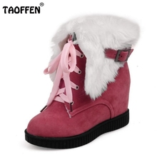 Women Round Toe Flat Ankle Boots Woman Lace Up Botas Mujer Female Buckle Winter Warm Fur Snow Boot Woman Shoes Size 34-39