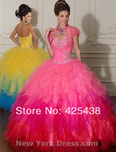 Luxury Ball Gown Rainbow Mix Color Tulle Quinceanera Dresses with Jacket
