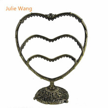 Julie Wang 1PCS New Heart Shape Antique Bronze 58Holes Jewelry Display Pendant Charm Earring Necklace Showing Shelf Stand Holder(China)