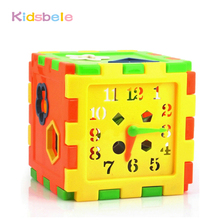 Model Building Kits Plastic Toy&Hobbies Colorful Educational Brick Toys For Children Kid Box Learn Time Shape Preschool Baby Toy(China)