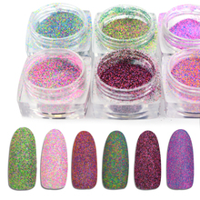 1 Bottle Colorful Nail Ultra Fine Glitter Powder 3D Holographic Sugar Decoration Dust Tip Nail Manicure Tool BE518-533