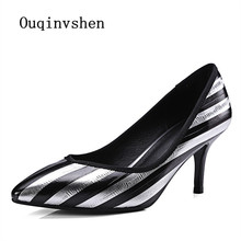 High heeled shoes 2017 Spring autumn Zebra stripes Pointed Toe Genuine Leather Sexy High Heels Thin Heels Woman pump
