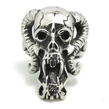 Mens Boys 316L Stainless Steel Cool Newest Desing Cow Skull Head Newest Design Silver Ring Factory Price