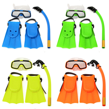 Junior Children Snorkeling Set Snorkel Mask Goggles Flippers Scuba Surface Swim Mask Silicone Maske Masque Tuba Plongee Kids Set