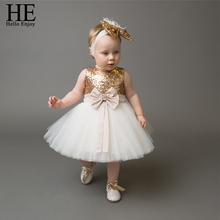 1st birthday dress baby girls dresses for party and wedding	 sleeveless sequins bowknot christening ball gown newborn baby dress