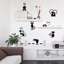 % lovely 9 pcs cat cartoon animals fish footprint vinyl switch phone wall stickers bathroom home decoation kids room bedroom(China)