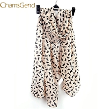 Chamsgend Scarves Newly Design 1pc Women Fashion Black Cat Chiffon Scarf 160905 Drop Shipping(China)