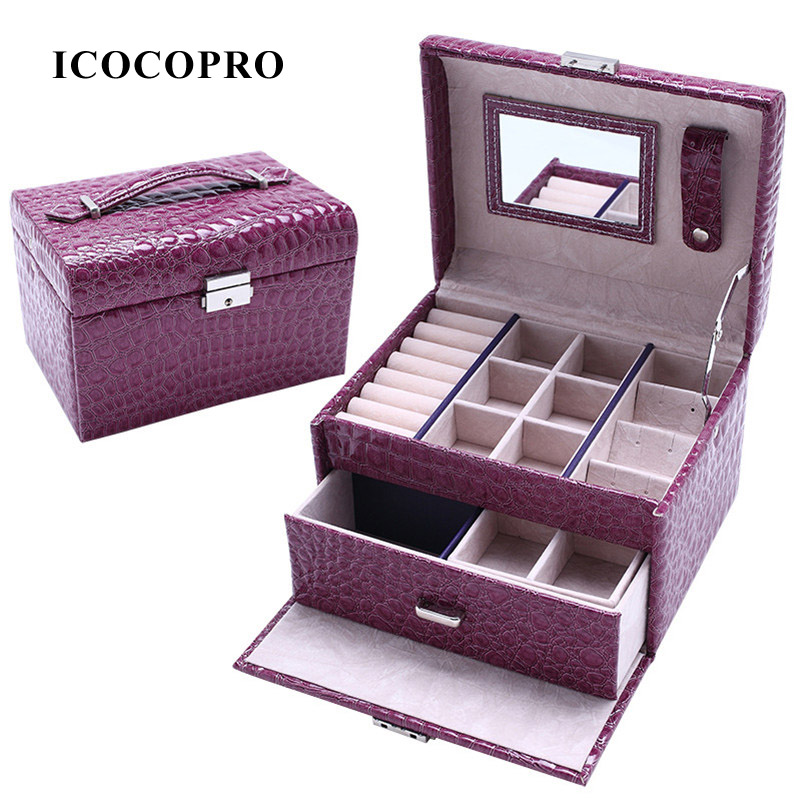 Jewelry Organizer Gift Box Travel Jewelry Packaging Display Lockable Jewelry Box Necklace Earring Holder Jewellry Case Ring Box(China (Mainland))