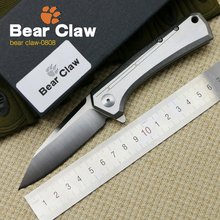 Bear claw 0808 bearing flip D2 blade folding tactical camping hunting outdoor climbing adventure pocket knife EDC tool(China)