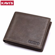 KAVIS Wallet Men Genuine Leather Vintage Bifold Brands With Money Bag Portomonee Coin Purse PORTFOLIO Rfid Walet Small and Mini