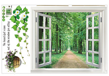 Green Bamboo Forest Wall Stickers Vinyl DIY Decorative Mural Art for Living Room Cabinet Decoration Home Decor(China)