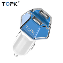 TOPK Car Charger Dual USB 5V 2A Universal Mini Car-charger Adapter for iPhone Xiaomi Samsung Galaxy LG(China)