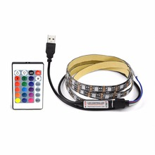 DC 5V 1M 2M 3M 4M 5M 5050 SMD RGB USB cable LED Strip light 3key / 24Key IR / 17key RF remote control Bias lighting Decor lamp