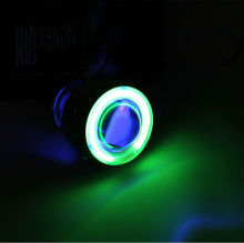 "Motorcycle Projector Lens Light 2.0"" inch 35w HID Motorbike Lamp High Quality hot sale Blue angel + Green Devil eye"