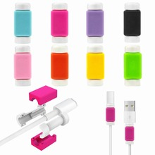 100PCS USB Cable Protector Case For iPhone 6s 6 5S 5 Charger Data Silicone Saver for Lightning 30-pin Ipod Apple Watch wholesale